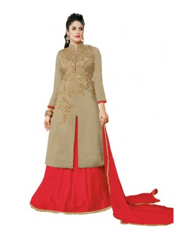 Traditional Wear Brown Taffeta Silk Lehenga - 20517
