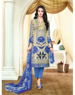 Party Wear Blue Satin Cotton Salwar Suit - 20698