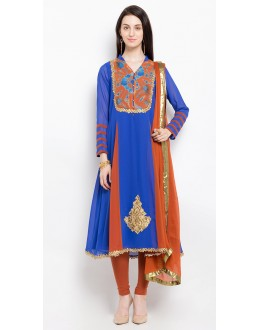 Traditional Wear Readymade Blue Salwar Suit  - 20914