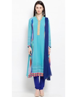 Ethnic Wear Readymade Blue Salwar Suit  - 20919