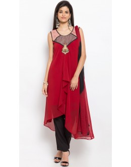 Traditional Wear Readymade Red Salwar Suit  - 20936