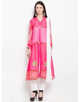 Ethnic Wear Readymade Pink Salwar Suit  - 20954