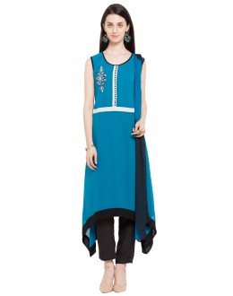 Wedding Wear Readymade Blue Georgette Indo Western Suit  - 21261
