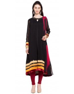 Traditional Wear Readymade Black Georgette Indo Western Suit  - 21264