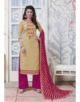 Party Wear Cream Cotton Jaquard Salwar Suit - 21274