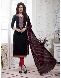 Ethnic Wear Black Cotton Jaquard Salwar Suit - 21275