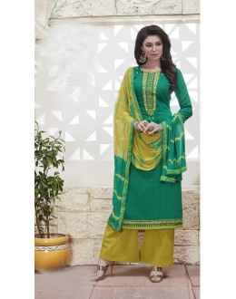 Traditional Wear Green Cotton Jaquard Salwar Suit - 21279