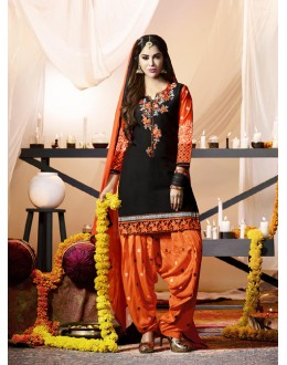 Party Wear Black Cotton Salwar Suit - 21283