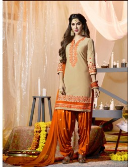 Festival Wear Peige Cotton Salwar Suit - 21287