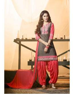 Ethnic Wear Light Grey Cotton Salwar Suit - 21288