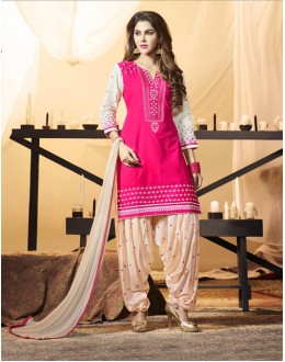 Casual Wear Pink Cotton Salwar Suit - 21289