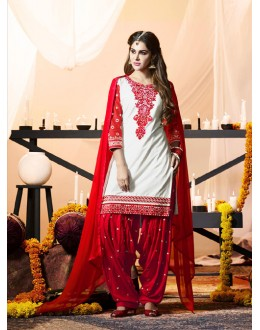 Wedding Wear Off White Cotton Salwar Suit - 21291