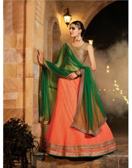 Traditional Wear Light Orange Soft Net Lehenga - 21310