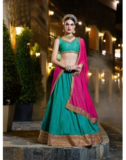 Ethnic Wear Rama Green Banarasi Silk Lehenga - 21311
