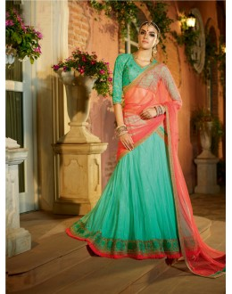Festival Wear Acqua Blue Soft Net Lehenga - 21312