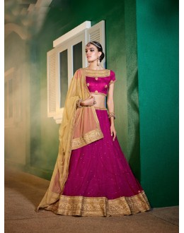 Traditional Wear Wine Soft Net Lehenga - 21315