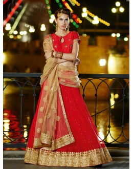 Wedding Wear Red Soft Net Lehenga - 21318