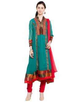 Ethnic Wear Readymade Green Faux Georgette Salwar Suit  - 21332