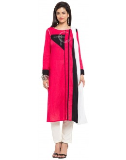 Party Wear Readymade Pink Cotton Salwar Suit  - 21335
