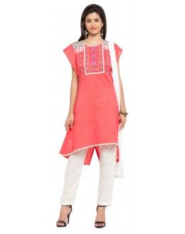 Traditional Wear Readymade Pink Cotton Salwar Suit  - 21340