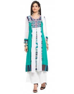 Party Wear Readymade Green Cotton Salwar Suit  - 21342