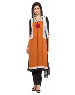 Casual Wear Readymade Mustard Cotton Salwar Suit  - 21344