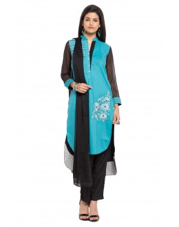 Ethnic Wear Readymade Blue Cotton Salwar Suit  - 21345
