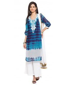 Traditional Wear Readymade Blue Faux Georgette Salwar Suit  - 21356