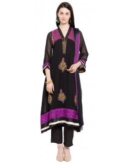 Traditional Wear Readymade Black Faux Georgette Salwar Suit  - 21361