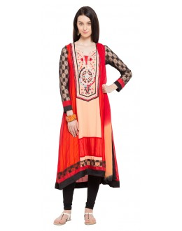 Casual Wear Readymade Red Faux Georgette Salwar Suit  - 21362