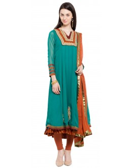 Festival Wear Readymade Turquoise Blue Faux Georgette Salwar Suit  - 21455