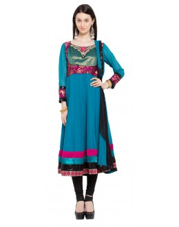 Casual Wear Readymade Blue Faux Georgette Salwar Suit  - 21456