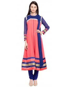 Traditional Wear Readymade Peach Faux Georgette Salwar Suit  - 21457
