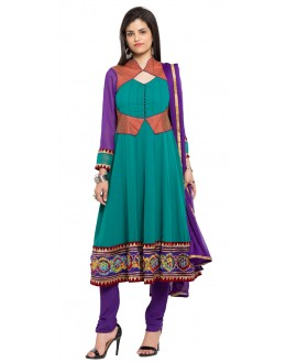 Party Wear Readymade Turquoise Blue Faux Georgette Salwar Suit  - 21459
