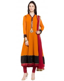 Casual Wear Readymade Mustard Faux Georgette Salwar Suit  - 21462
