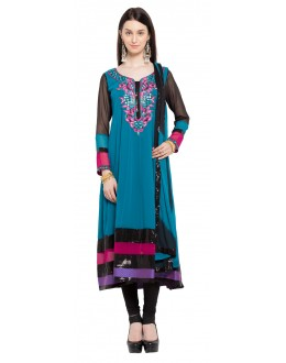 Party Wear Readymade Blue Faux Georgette Salwar Suit  - 21464