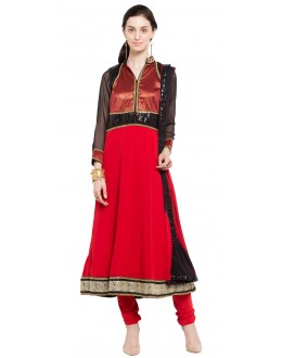 Ethnic Wear Readymade Red Faux Georgette Salwar Suit  - 21466