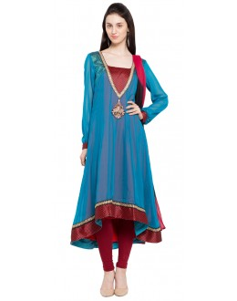 Casual Wear Readymade Blue Faux Georgette Salwar Suit  - 21469