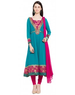 Ethnic Wear Readymade Blue Faux Georgette Salwar Suit  - 21473