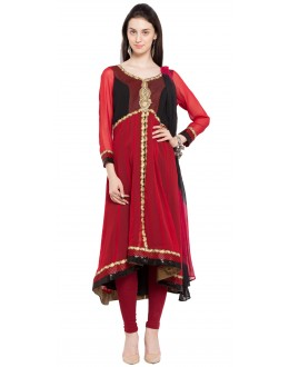 Wedding Wear Readymade Red Faux Georgette Salwar Suit  - 21474