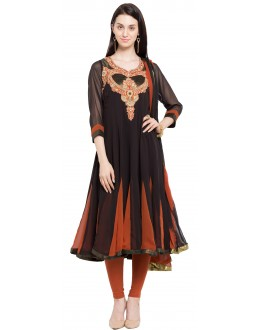 Traditional Wear Readymade Black Faux Georgette Salwar Suit  - 21476