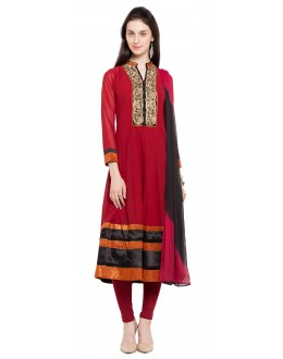 Party Wear Readymade Red Faux Georgette Salwar Suit  - 21477
