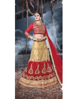 Festival Wear Red & Cream Net  Lehenga - 21532