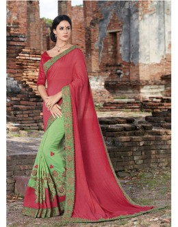 Festival Wear Red & Green Crepe Silk Saree  - 21534