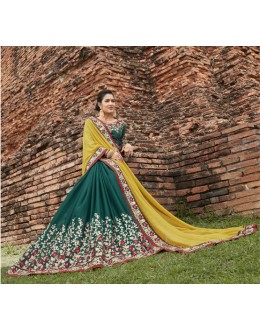 Casual Wear Yellow & Green Chiffon Saree  - 21537