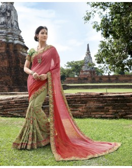 Festival Wear Pink & Green Georgget Chiffon Saree  - 21539