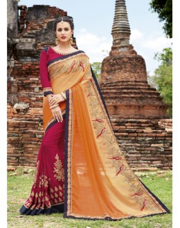 Ethnic Wear Orange & Dark Pink Crepe Chiffon Saree  - 21540