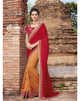 Tradition Wear Red & Orange Crepe Silk Saree  - 21542