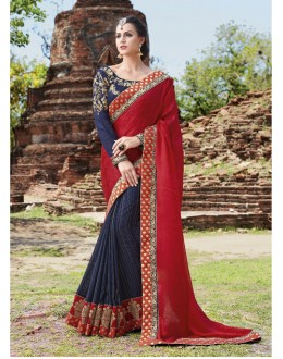 Festival Wear Red & Dark Blue Crepe Jaquard Saree  - 21546