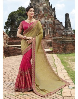 Wedding Wear Beige & Pink Crepe Jaquard Saree  - 21547